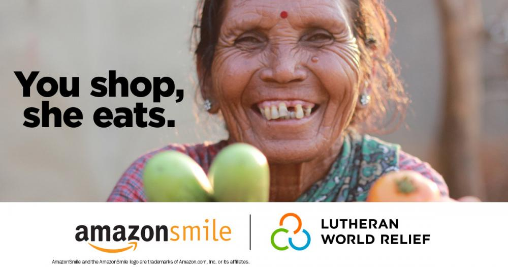 You shop, she eats. Shop AmazonSmile and choose Lutheran World Relief as your charity of choice.